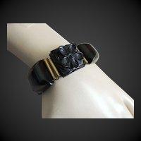 Carved Bakelite Bracelet Black Link Flowers  c1940's