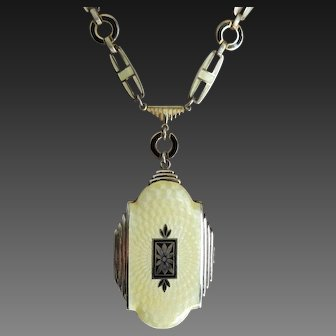 Guilloche Enamel Locket Art Deco Silver Tone Evans