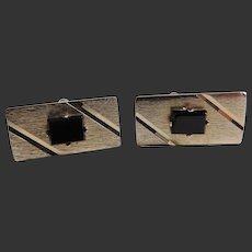 Vintage Cufflinks Gold Tone Black Onyx c1990's