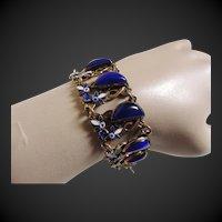 Enamel Czech Bracelet Cobalt Blue Lipstick Glass Art Deco Max Neiger Style c1920's
