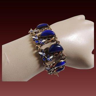 Enamel Czech Bracelet Glass Art Deco Max Neiger Style c1920's