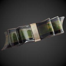 Bakelite Pin Ribbon Bow Two Tone Multi Color c 1940's