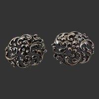 Art Nouveau Cufflinks 800 Silver Hallmarked Double Sided Early 1900's