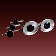 Cufflinks Studs Set with Black Onyx Sterling C1980's