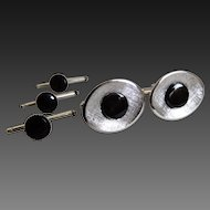 Cufflinks Studs Set with Black Onyx Sterling C1980's