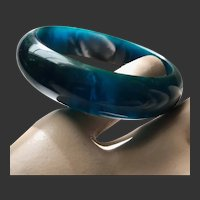 Bakelite Bracelet Blue Moon Marbled Art Deco c1940's
