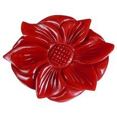Bakelite Pin Art Deco Deeply Carved Red Dimensional Flower c1940's