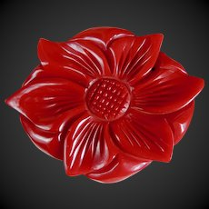 Bakelite Pin Art Deco Deeply Carved Red Dimensional Flower c1940's