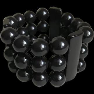 Bakelite Bracelet Stretch Expansion Beads and Bars Art Deco c1940's