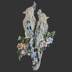 Coro Duette Calopsitta Enamel Rhinestone Rhodium Bird Sweater Pin Fur Clips c1941