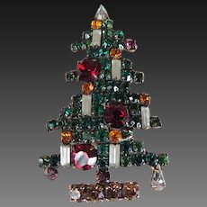 Weiss Rhinestone Six Light Christmas Tree Pin c1950's