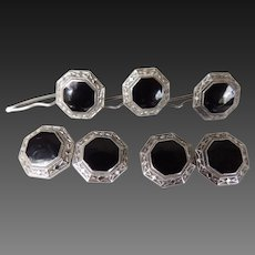 Cufflinks Studs Set with Black Enamel Sterling C1950's