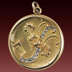 Art Nouveau Locket Rhinestones Gold Filled c1920's