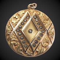 Art Nouveau Locket Gold Filled Etched Design Early 1900's