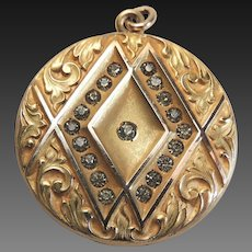 Art Nouveau Locket Gold Filled Etched Design Early 1900's