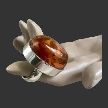 Modernist Sterling Amber Ring MCM Denmark Einer Fehrn c1950's