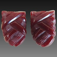 Bakelite Dress Clips Art Deco Matching Pair Deep Carved c1930's