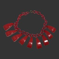 Bakelite Necklace Lipstick Art Deco Chunky Drops Choker Length c1940's
