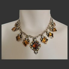 Max Neiger Art Deco Czech Glass & Enamel Necklace c1920's