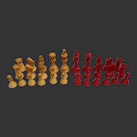 Bakelite Chess Set Staunton Style 32 Pieces Mid-Century Modern
