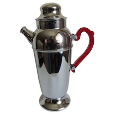 Chrome Cocktail Shaker Art Deco with Red Bakelite Handle c1930's