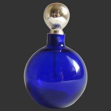 Perfume Bottle Art Deco French Cobalt Blue Mercury Glass Stopper c1920's
