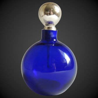 Perfume Bottle Art Deco French Cobalt Blue Mercury Glass Stopper c1920's