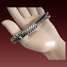 Sterling Channel Set Rhinestone Bracelet Art Deco Two Tone c1920's