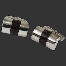 Modernist Cufflinks Sterling Silver Wood Inlay Signed Beto Taxco c1950's