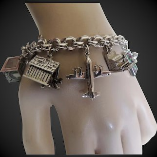 Sterling Charm Bracelet with Mechanical Charms c1950's