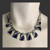 Max Neiger Art Deco Czech Cobalt Blue Glass & Enamel Necklace c1920's