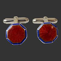 Sterling Cufflinks Guilloche Enamel Brick Red and Cobalt Blue c1980's