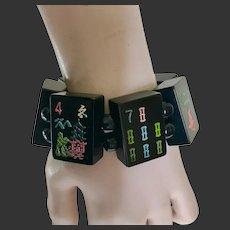 Bakelite Mah Jong Tile Stretch Bracelet Black c1950's