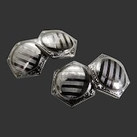 Cufflinks 10 Karat White Gold Art Deco Double Sided c1940's.