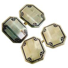 Cufflinks 14 Karat Yellow Gold Art Deco Enamel Double Sided c1940's.
