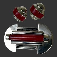 Jakob Bengel Art Deco Machine Age Pin and Earrings Set Red Galalith c1930's