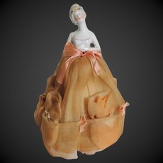 Porcelain Half Doll with Powder Puffs Art Deco Fabric Skirt c1920's/30's