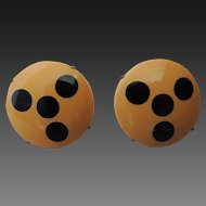 Bakelite Clip On Earrings Injected Dots Art Deco