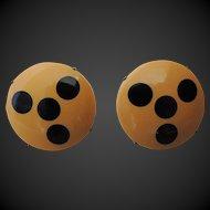 Bakelite Clip On Earrings Injected Dots Art Deco