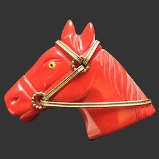 Bakelite Horse Pin Red Deeply Carved Brass Hardware c1940's