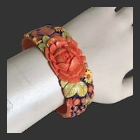 Celluloid Bracelet Floral Bangle Hand Painted Enamel Art Deco c1940's