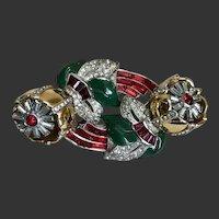 Coro Duette Trembler Quivering Camellia Rhinestone Flower Duette Brooch Pin & Dress Clips Set c1938