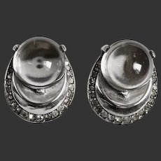 "Trifari Earrings Alfred Phillippe ""Pools of Light"" Jelly Belly Orbs Sterling Clip-ons c1940's"