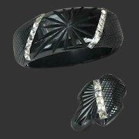 Bakelite Bracelet and Dress Clip Set Rhinestone Art Deco Rare c1940's