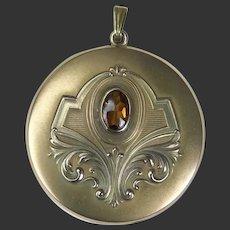 Art Nouveau Locket Gold Filled Embossed Design Early 1900's