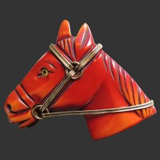 Bakelite Horse Pin Over-dyed Deeply Carved Brass Hardware c1940's