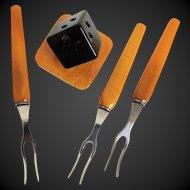 Bakelite Dessert Fruit Appetizer Fork Set with Holder Art Deco c1940's