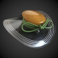 Bakelite Lucite Hat Pin Brooch Figural with Bow c1940's