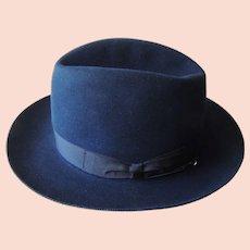47f97b108aa71a Vintage Borsalino Pesca Fedora Hat Italy Black Fur Felt Size 7 ...