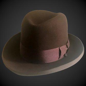 Homburg Stetson Royal De Luxe Fur Felt Hat Size 7 ¼ c1950's